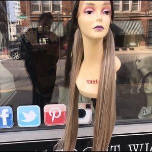 Long Ash Blonde Freepart Ponytail Wig Ombré 2019